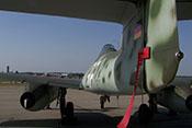 Die Me 262 nach Abschluss der ILA 2008 - Blick auf das Seitenruder mit der hinteren Positionsleuchte