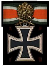 Goldenes Eichenlaub mit Schwertern und Brillanten zum Ritterkreuz des Eisernen Kreuzes (Verleihung werden nicht vorgenommen)