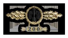 Frontflugspange für Jäger in Gold mit Anhänger 'Einsatzzahl 200'