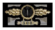 Frontflugspange für Kampfflieger in Gold mit Anhänger 'Einsatzzahl 500'