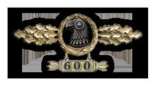 Frontflugspange für Aufklärer in Gold mit Anhänger 'Einsatzzahl 600'