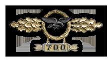 Frontflugspange für Transportflieger in Gold mit Anhänger 'Einsatzzahl 700'