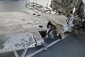 Verbeulter Vorflügel der rechten Bf109-Tragfläche