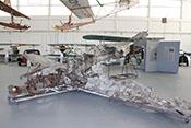 Wrack der Messerschmitt Bf 109 E-3a 'L-61' im Hangar 10 der Air Fighter Academy