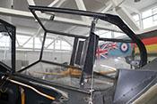Geöffnete Erlahaube 'Vollsichthaube' mit Gallandpanzer zum Schutz des Flugzeugführers