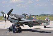 Ansicht der Messerschmitt Bf 109 G-4 'D-FWME' von vorne links