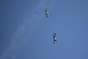 Zwei Hispano Buchon (Bf 109) im Sturzflug