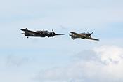 Bristol Blenheim MkI G-BPIV (1934) und Hawker Hurricane XII Z5140 G-HURI (1942)