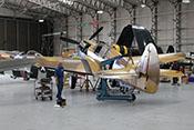 Blick auf die Curtiss P-40 F 'Kittyhawk' X-17 von hinten links