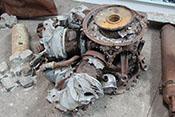 Überreste eines zerstörten Doppelsternmotors