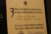 Verleihungsurkunde zum Eisernen Kreuz Zweiter Klasse des Gefreiten Max Höfer
